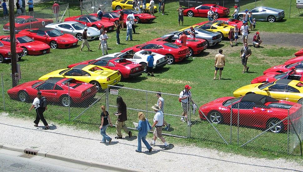 Ferrari parking lot at USGP 2005
