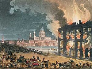 History of firefighting - This picture published in 1808 shows firefighters tackling a fire in London using hand-pumped engines.
