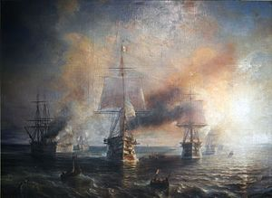 Royal Commission on the Defence of the United Kingdom - The French fleet leaving Cherbourg under steam and sail in 1858; the growth of the French Navy was one a cause of grave concern in the United Kingdom.