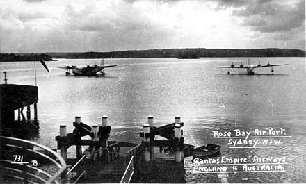 Qantas Empire Airways Short Empire flying boats at Rose Bay in Sydney Harbour (c.1939) Flying boats at Rose Bay.jpg