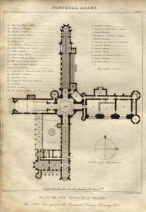 Fonthill Abbey - A plan of the main floor (Rutter, 1823)