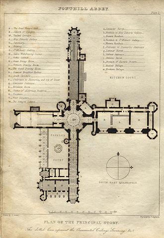 Fonthill Abbey - A plan of the main floor (Rutter, 1823)