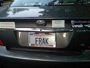 Frak (expletive) - A vanity plate displaying the revised spelling