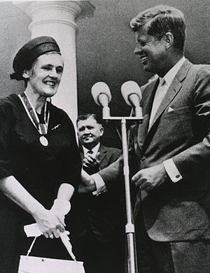 Frances Oldham Kelsey - Kelsey received the President's Award for Distinguished Federal Civilian Service from President John F. Kennedy, 1962