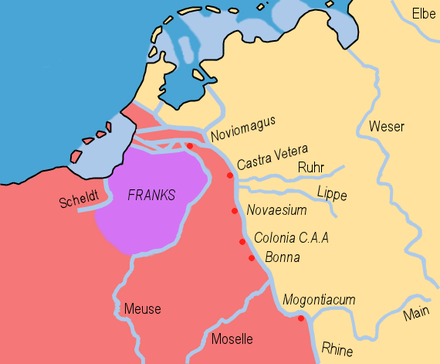 Salian settlement in Toxandria, where they had recently settled or been settled in 358, when Julian the Apostate made them dediticii. Frankish Foederatus.png