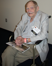 Pohl in 2008 at the J. Lloyd Eaton Science Fiction Conference