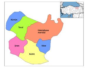 Kelkit - Image: Gümüşhane districts
