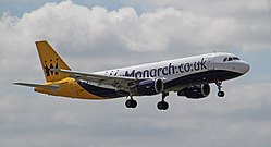G-OZBY Monarch Airlines Airbus A320-214 (27790828624).jpg