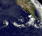 """GOES-11 Satellite Sees Tropical Storms Fernanda and """"Little Brother"""" Greg Chasing Each Other (6053519239).jpg"""