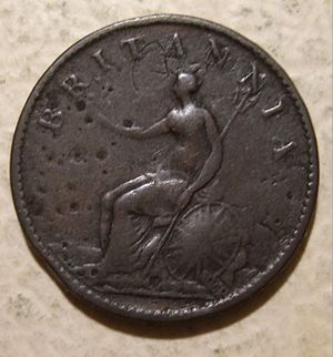 History of the British farthing - Reverse of an 1807 Boulton-struck farthing