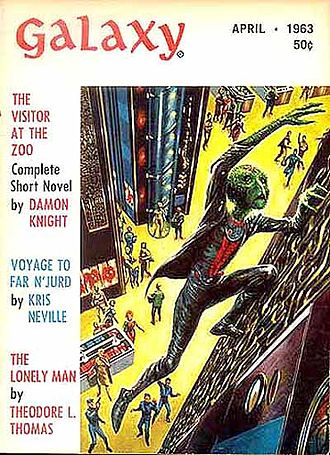 """Damon Knight - Knight's novella """"The Visitor at the Zoo"""" took the cover of the April 1963 issue of Galaxy Science Fiction"""
