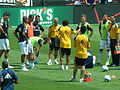 Galaxy warming up at LA at SJ 2010-08-21 2.JPG