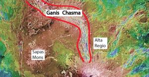 Ganis Chasma - Image of the Ganis Chasma Rift Zone on Venus. Image taken by the Magellan spacecraft by NASA. Modified after Dinderman (2015).