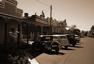 Ganmain - Main Street of Ganmain as it is today - complete with vintage cars