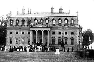 """Garendon Hall - Garendon Hall c. 1890. Showing the 18th-century Classical style house, with the """"rather horrible"""" 19th-century Gothic mansard roof."""