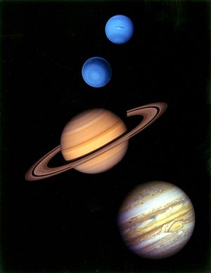 Outer planets - From top to bottom: Neptune, Uranus, Saturn, and Jupiter to approximate scale and color.