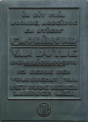 Florimond Van Duyse - Image: Gedenkplaat Florimond Van Duyse in Gent