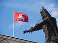 Gediminas and historical flag of Lithuania.jpg