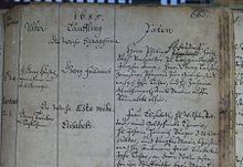 Handel's baptismal registration (Marienbibliothek in Halle) (Source: Wikimedia)