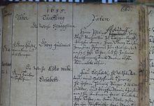 Taufeintrag Händels im Kirchenbuch der Marktkirche Unser Lieben Frauen am 24.Februar 1685 (Marienbibliothek Halle) (Quelle: Wikimedia)