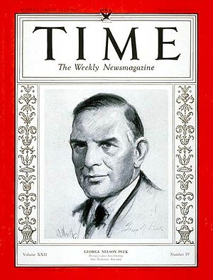 George Peek - George Nelson Peek on the cover of Time magazine on Nov. 6, 1933