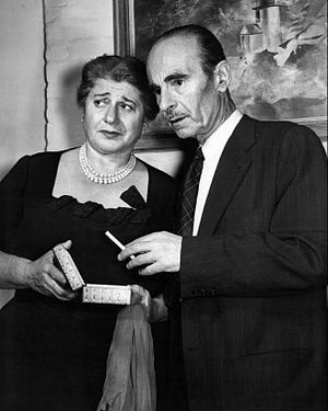"Mikhail Rasumny - Rasumny and Gertrude Berg in ""Hearts and Hollywood"" on The Elgin Hour, 1954."