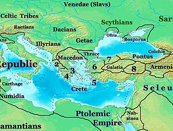 Eastern Europe in 200 BC showing the Getae tri...