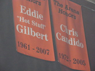Chris Candido - Candido's Hardcore Hall of Fame banner in the former ECW Arena