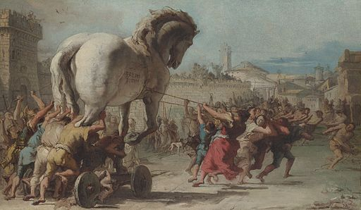 Giovanni Domenico Tiepolo - The Procession of the Trojan Horse in Troy - WGA22382