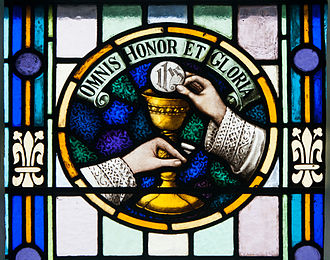 Doxology - The Eucharistic Doxology in a stained glass window of St. James' in Glenbeigh