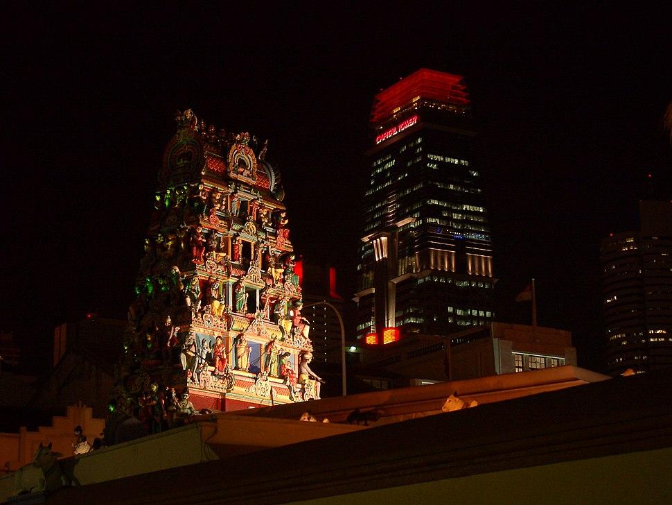 Gopuram of Sri Mariamman Temple and Capital Tower, Singapore - 20020913