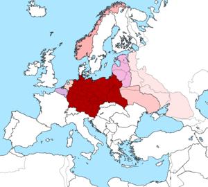 Greater Germanic Reich - Großdeutsches Reich in 1942, with Reichskommissariat Ostland (upper centre), Reichskommissariat Ukraine (lower right) and (never fully realized) Reichskommissariat Moskowien