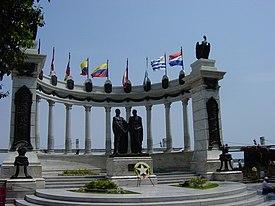 Hemiciclo de la Rotonda con el monumento a los libertadores Simón Bolívar y José de San Martín en el Malecón 2000, Guayaquil, Ecuador