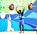 Guru Raja (India) in action and won the gold medal in 56 kg Men's weightlifting, at 12th South Asian Games-2016, in Dispur, Guwahati on February 06, 2016.jpg