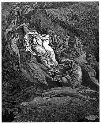 Francesca da Rimini - Gustave Doré, from his illustrations to the Divine Comedy (1857): Dante faints at the pitifulness of Francesca da Rimini's plight, while the hurricane of souls that she and her lover are trapped in surround the scene.