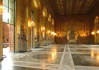 Golden Hall (Stockholm City Hall) got its name from the over 18.6 million mosaic pieces of colored glass and gold that adorn the walls. Is known as the venue for the dance after the Nobel Banquet.