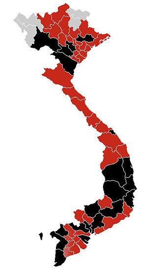 2009 flu pandemic in Asia - Image: H1N1 Vietnam map