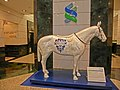 HK 388 Kwun Tong Road 創紀之城一期 Millennium City 1 Standard Chartered Bank Tower lift lobby sculpture horse Race Day April 2013 Logo.JPG