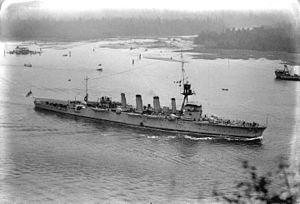 HMAS Adelaide (1918) - Adelaide sailing into Burrard Inlet in British Columbia, Canada, during the 1924 Special Service Squadron world cruise