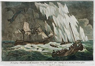 Edward Riou - Distressing situation of the Guardian sloop, Capt. Riou, after striking on a floating Island of ice, depiction of the event printed in 1809
