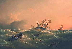 Richard Brydges Beechey - HMS Orpheus, by Richard Brydges Beechey, 1863.