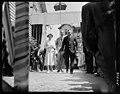 HM Queen Elizabeth with Duke of Edinburgh escorted to Royal car by SM Timaru. 25 January 1954.jpg