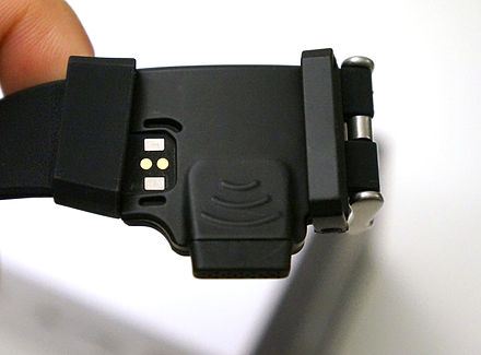 HOT Watch speaker and microphone embedded on the strap. Magnetic charging pins at left. HOT Watch Directional speaker and microphone module.jpg