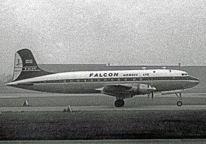 Falcon Airways - Falcon Airway Ltd Handley Page Hermes 4 at Manchester Airport in 1960 when operating a holiday inclusive tour flight