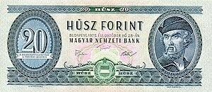 György Dózsa - Dózsa's portrait on the former 20 forint banknote