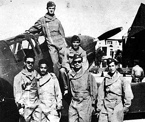 Hafez al-Assad - Hafez al-Assad (above) standing on the wing of a Fiat G.46-4B with fellow cadets at the Syrian AF Academy outside Aleppo, 1951–52