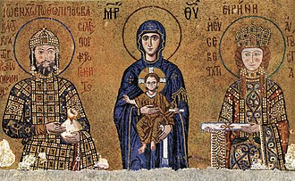 Isaac Komnenos (son of John II) - Isaac's parents, John II and Empress Irene, flanking the Madonna and Child, from a mosaic in the Hagia Sophia