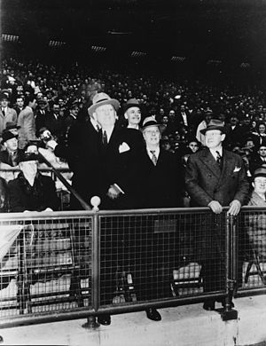 Frank Hague - Hague tosses out the first ball at the Jersey City Giants' 1946 home opener, Roosevelt Stadium