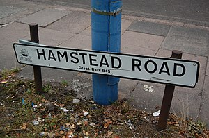 """Great Barr - Street name sign on Hamstead Road, Great Barr, Birmingham, showing the """"B43"""" postcode"""