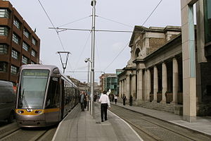 Harcourt Street railway line - Harcourt Street terminus on the right, by George Wilkinson, 1858-59.